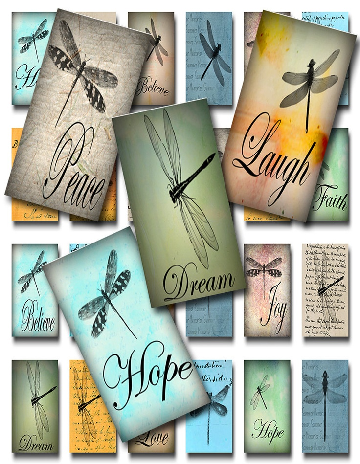 Dragonflies Domino 1 x 2 inch Digital Image Collage Sheet (D-10). $3.99, via Etsy.