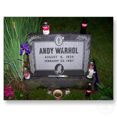 Andy Warhol (1926-1987) Saint John Baptist Cemetery, Pennsylvania, USA  Cause of Death: Complications from Bladder Operation