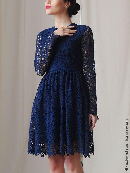 Синее кружевное платье из хлопка. Handmade.