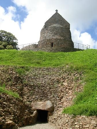 The chapel and neolithic tunnel in La Hougue Bie, Jersey, Channel Islands  The chambers were built 5,800 years ago