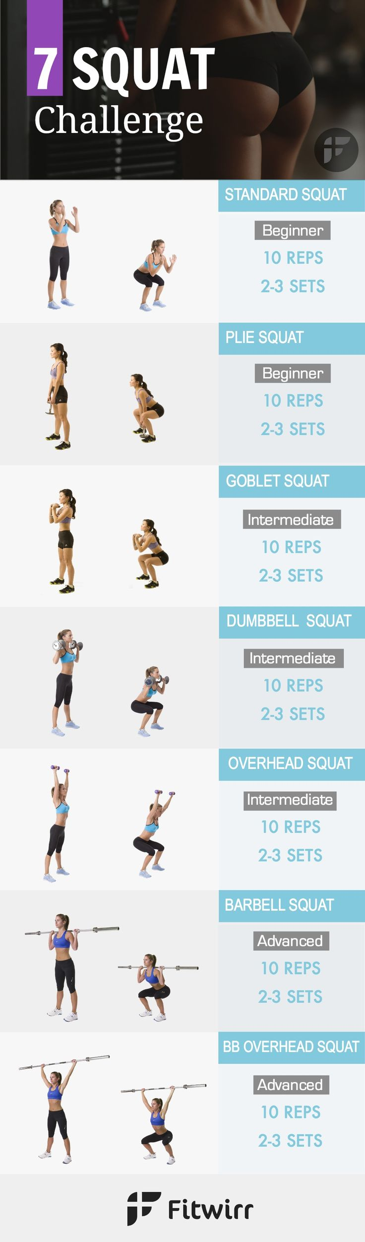 While a 30 day squat challenge is a great way to challenge yourself, you shouldn't do the same squat exercise everyday. Doing different squats target your glutes from multiple angles and shape the perfect butt. Get this squat challenge and get started on your booty.