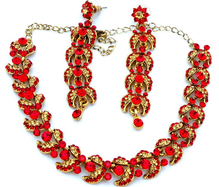 Indian Jewelry Gold Polished Red + Gold Austrian Crystals Choker Necklace Set with Earrings by Nostalgicpearls on Etsy