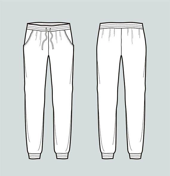 Jogger Pants Vector Fashion Flat Sketch Adobe Illustrator
