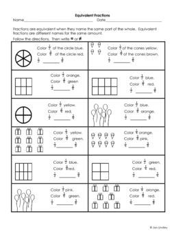 Here's a series of 4 handouts for reviewing equivalent fraction concepts.