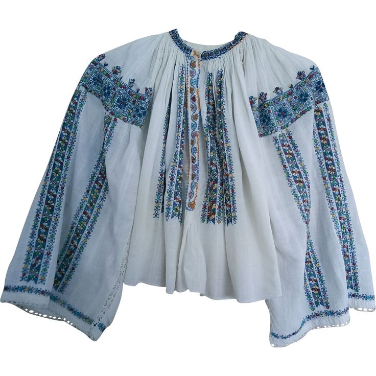 Splendid Old(80 years) hand embroidered folk peasant traditional Romanian top blouse