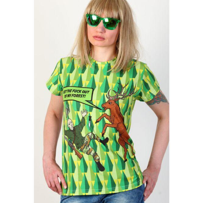 Vegan T-shirt 'Stag vs hunter' by PUNK PARROT clothing brand