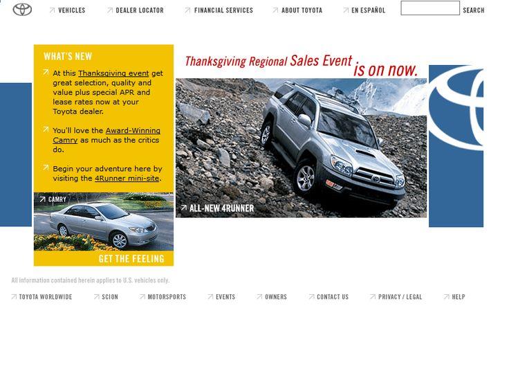 Toyota website in 2002