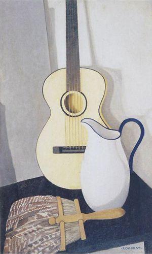 Felice Casorati (1883-1963), Brocca e chitarra, 1926, olio su tavola