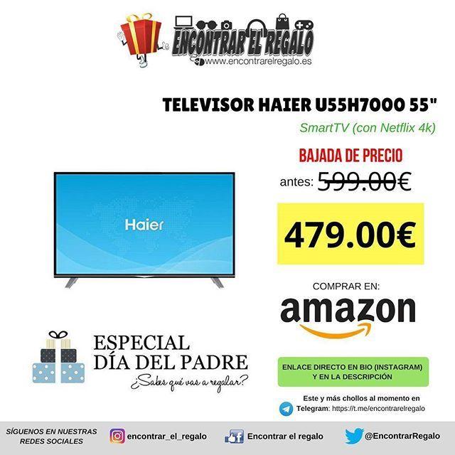 "Televisor 4K UHD Haier U55H7000 55"" SmartTV (con Netflix 4k)  Baja de 599.00  a 479.00   4 HDMI WiFi Ethernet Bluetooth 3 USB con función de grabación Triple sintonizador DVB T2  C  S2 Dolby Digital Comprar en Amazon: http://amzn.to/2FZ2j0Y  #SmartTV #HaierU55H7000 #Amazon #AmazonPrime #DiadelPadre"