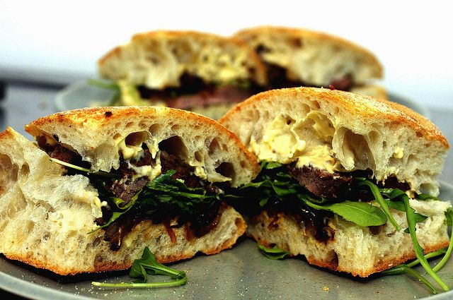 steak sandwiches | smitten kitchen - serve with caramelized onions and mustard mayo and enjoy!