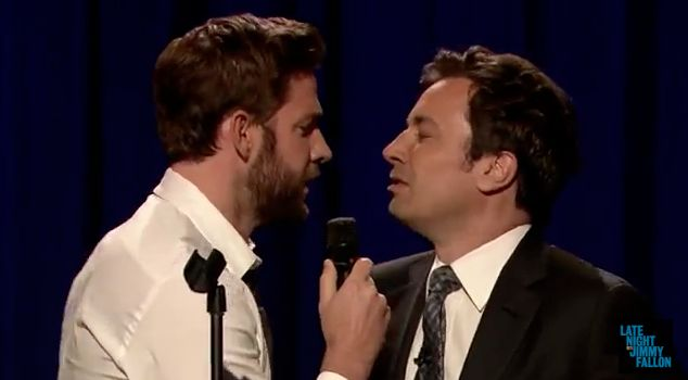 Jim Halpert has been such an insufferable douche on The Office  that you start to forget John Krasinski is a pretty decent, entertaining guy. Tonight on Fallon he and Jimmy had a lip sync battle that rivals the History Of Rap bit Fallon used to do with Justin Timberlake.  Here they each tackle some classics, then Fallon grabs Das EFX that gets trumped by Krasinskis Run DMC rendition.