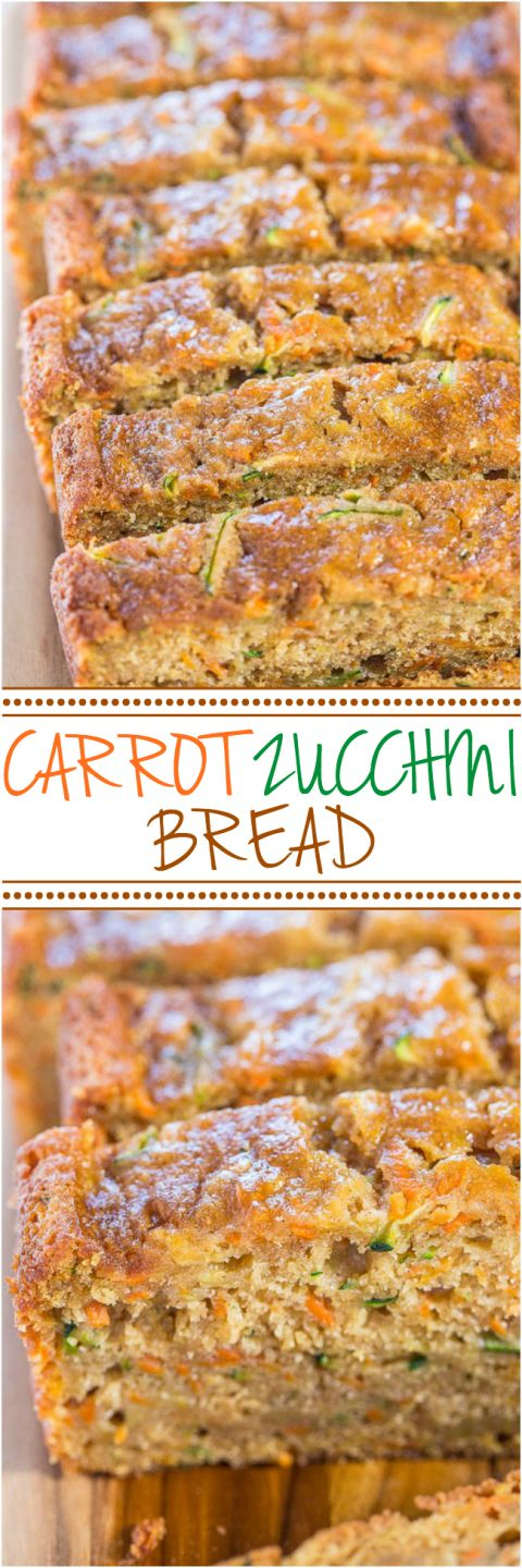 Carrot Zucchini Bread - Fast, easy, one bowl, no mixer!! Super soft, moist, and…