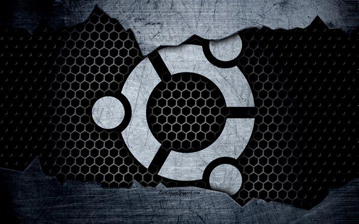 Herunterladen hintergrundbild ubuntu, linux, 4k, logo, metall, hintergrund