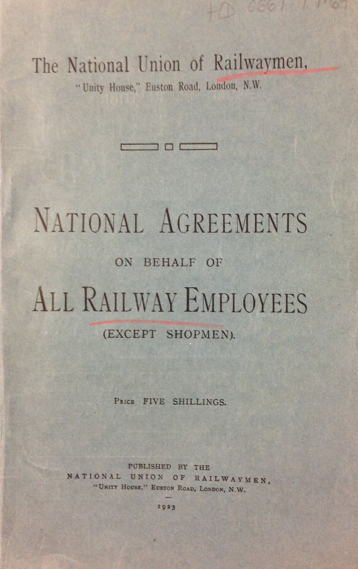 'National Agreements on behalf of all Railway Employees' published by The National Union of Railwaymen, 1923.
