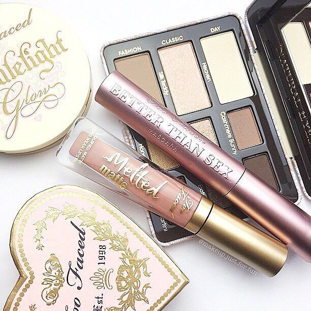 pinterest: @lilyosm | too faced makeup eyeshadow palette melted liquid lipsticks blushes bronzers highlighters