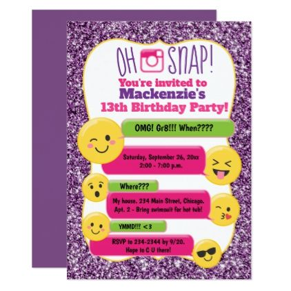 Emoji Girls Teen Tween Birthday Purple Glitter Card