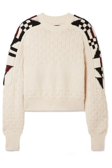 Off-white, burgundy and black cotton-blend Slips on 55% cotton, 40% wool, 4% polyamide, 1% elastane Dry clean Imported