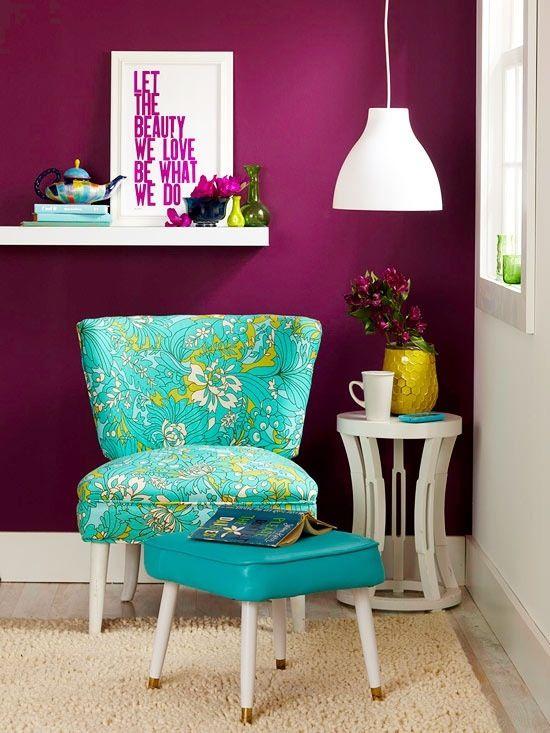 Retro Vintage Interior Aqua Turquoise Chair With Ottoman U0026 Burgundy Purple  Walls