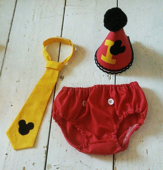 Boys Cake Smash Set  Mickey Mouse Tie pants and by cakesmashprops