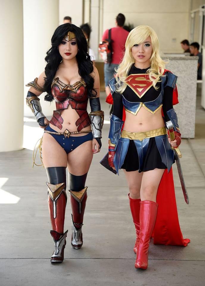 Wonder Woman and Super Girl by Livia Chuu and Stella Chuu - More at https://pinterest.com/supergirlsart #supergirl #wonderwoman #dc #cosplay #girls