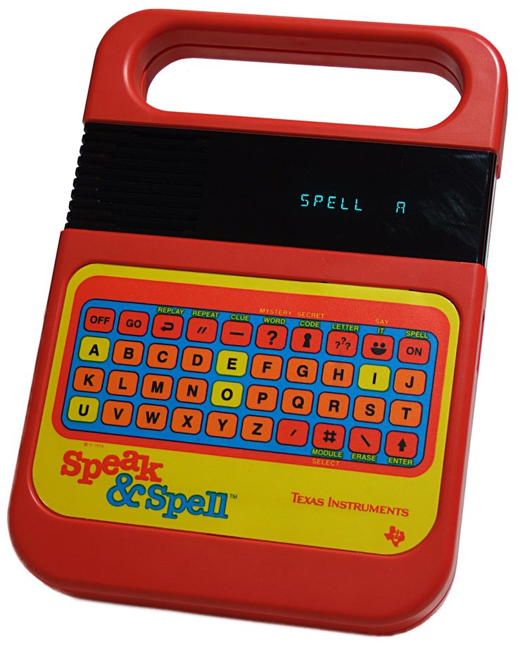 Speak & Spell - has link to online replica of Speak&Spell; I can STILL hear that robot voice after all these years.