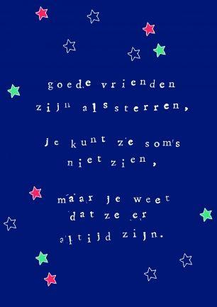 goede vrienden zijn als sterren || verstuur een echt kerstkaartje! || Made by www.miekinvorm.nl
