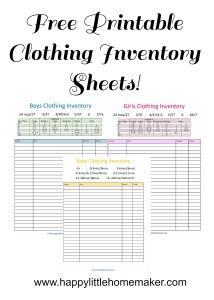 Trouble keeping track of kids clothing?  Try these free printable children's clothing inventory sheets from Happy Little Homemaker.