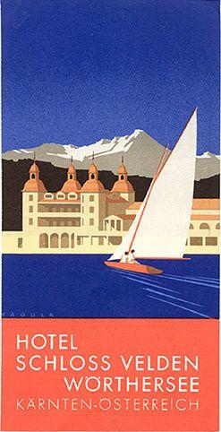 Travel brochure for the Hotel Schloss Velden am Wörthersee, Austria, circa 1935