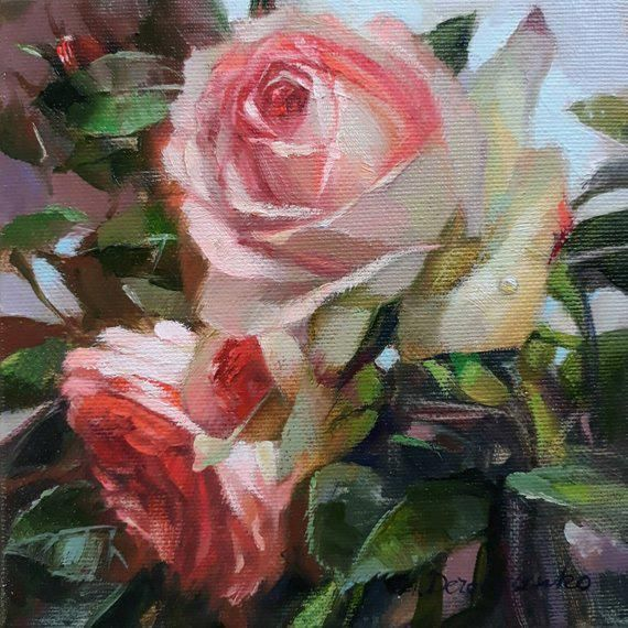 Roses Flowers Painting On Canvas Original Flower Rose Art In Oil Red Rose Garden Small Painting Unique