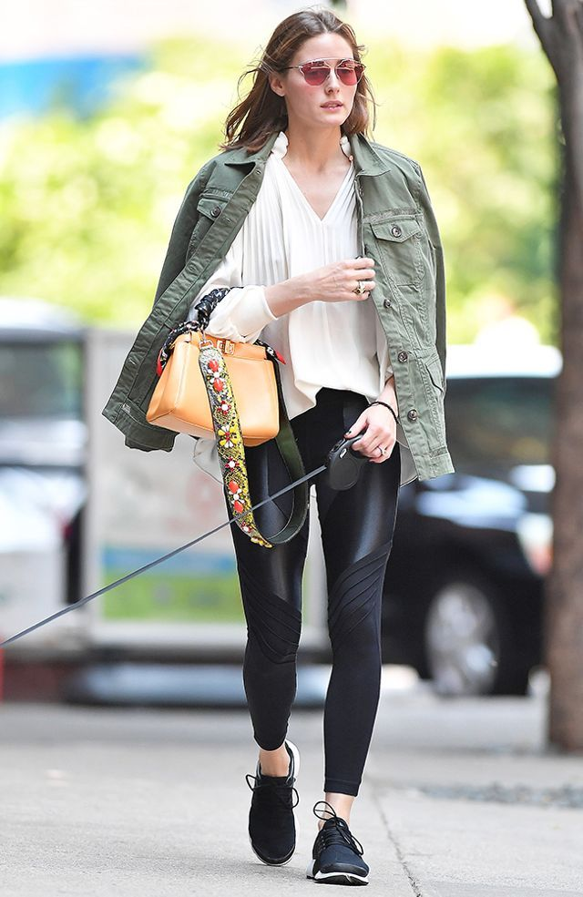 On Olivia Palermo: Dior So Real Pop Sunglasses ($450); Tibi top; Fendi Mini Peekaboo Bag ($3150); Koral Lateral Hi-Rise Leggings ($145); Nike Air Presto Sneakers ($120).
