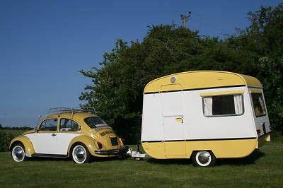 Having the matching car is essential.Vintage Trailers, Vw Beetles, Vintage Caravan, Vw Bugs, Cars, Camps, Caravan Interiors, Roads Trips, Vintage Campers