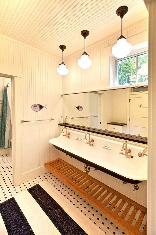 Get the look: Kohler Brockway sinks ~For the kids' bathroom.  No more pushing at the sink to brush teeth~B