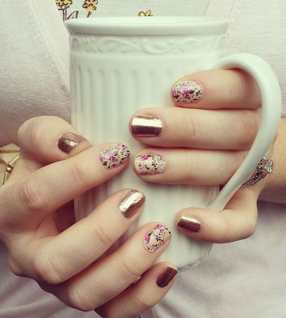 Rose Gold and Sweet Symphony Floral nails
