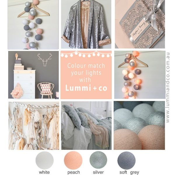 Colour matching with Little Lummi lights gift set. peach white silver grey  . Match for