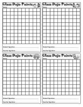 Classroom Management Freebie! Class Dojo Sheet. I have students tape this on their desk and keep track of their points. I can give out more than one point, to more than one student at a time. Definitely a time saver!
