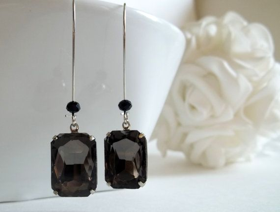SALE! Grey Black Rhinestone Earrings Rhinestone, Bridal and Spiritual Jewelry