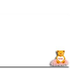 Pon un detalle amoroso y adorna tu fotografía con este oso de peluche que sujeta un corazón. Ideal para preparar una foto para regalar este San Valentín. http://www.fotoefectos.com