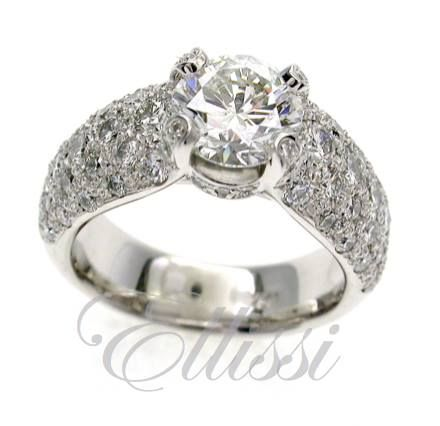 """""""Encrusted"""" is the only word needed ... very close-set pave #diamond detail. It even has diamonds in the tips of the #claws. #jewellery #engagement #wedding #anniversary #ring"""