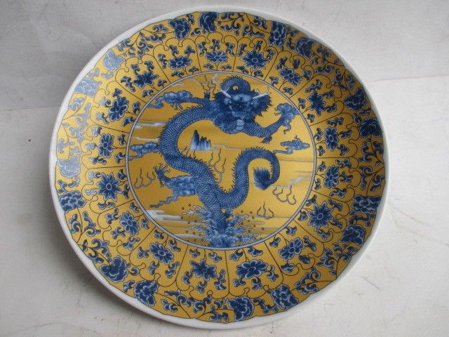 Ancient Chinese ceramics painting, dragon plate