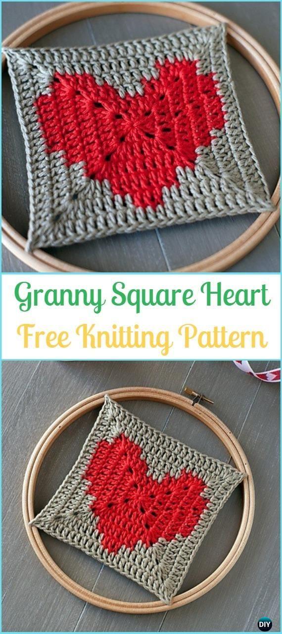 Crochet Granny Square Heart Free Pattern - Crochet Heart Square Free Patterns