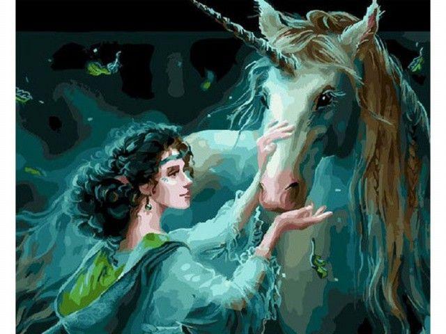 Картина по номерам «Фея и единорог» | Fantasy art, Art ...