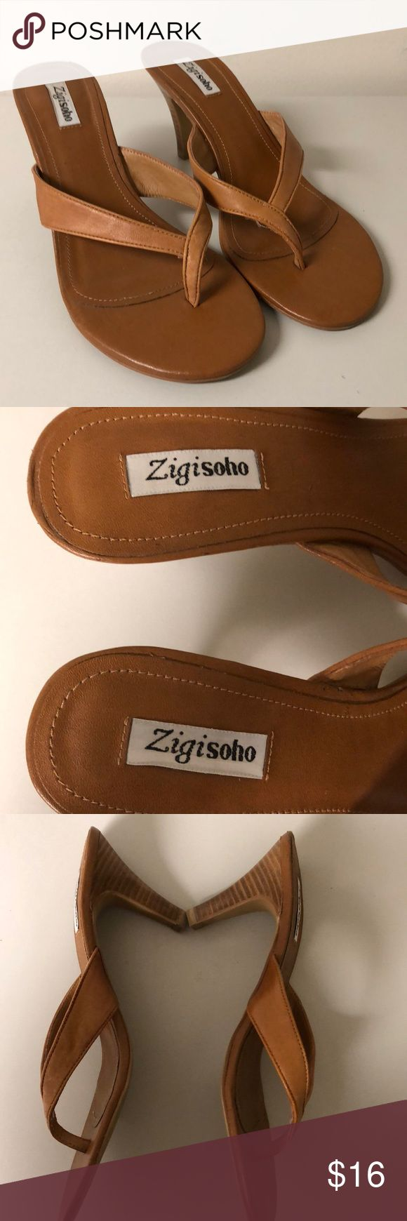 Zigisoho Women's Tan Leather Sandals Size 9 Zigisoho Womens's Tan Leather Sandals Size 9 Pre-owned and worn  3 Inch Heel Zigisoho Shoes Sandals #tansandalsheels