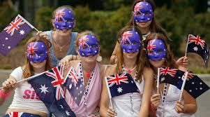 The Australian people wear Australian clothings with the Australian flag.
