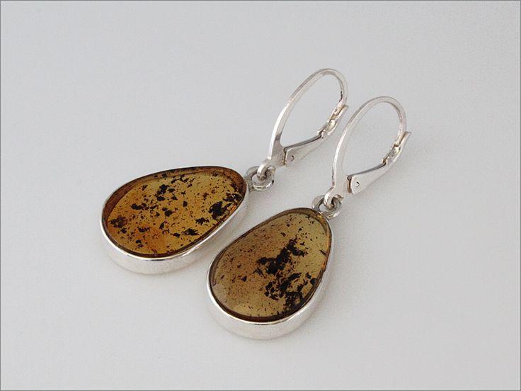 boucles d'oreilles gouttes en ambre veritable sur monture en argent 925/1000e