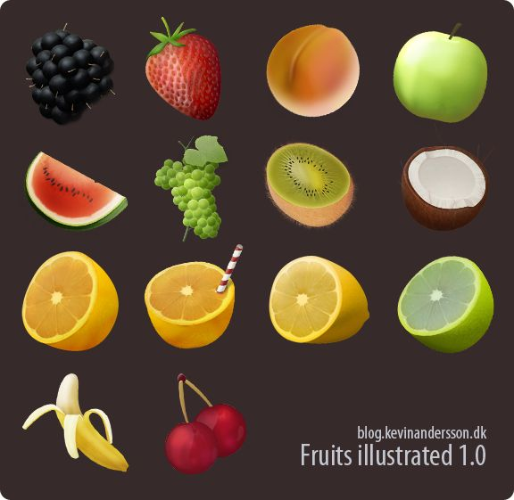 Fruits Illustrated by kevinandersson.deviantart.com  Scovato by Blogghidee.com :)))