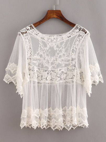 White Sheer Lace Insert Hollow Shirt.