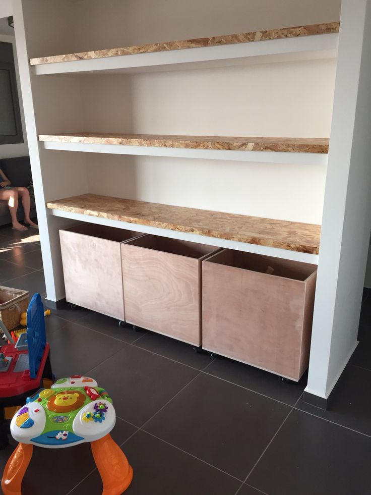 Osb shelfs and toy boxes