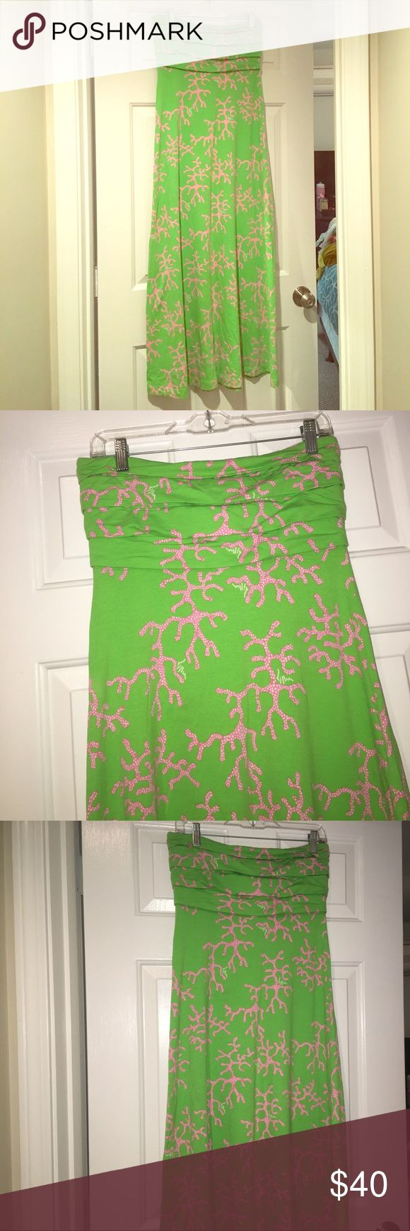 Lilly Pulitzer Coral Maxi Dress Bright pink coral and lime green maxi dress. So perfect for summer parties and spring time fun! Lilly Pulitzer Dresses Maxi