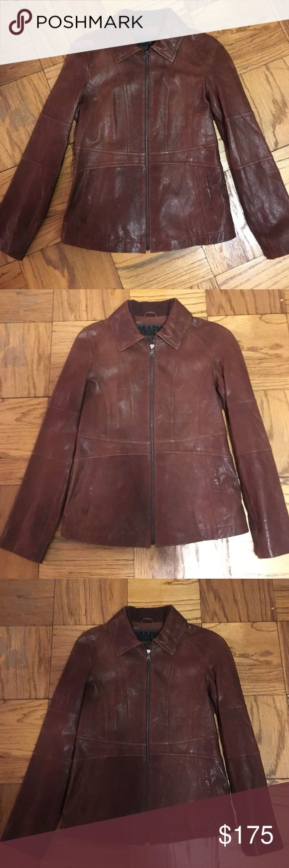 NWOT Andrew Marc Distressed Leather Jacket Never worn Andrew Marc distressed leather jacket. Wear alone or layer year-round. 2 pockets with inner lining.  Oxblood color. Uneven texture and coloring throughout the jacket is part of the distressed look. Andrew Marc Jackets & Coats