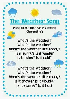 We could use this cute weather song in the mornings during circle time during the week of our weather unit. It would be a good way to get the kids excited to learn about the weather and to repeat our weather words to help them learn them. KW